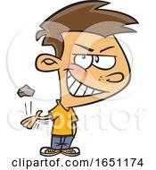 Cartoon Mischievous Boy Throwing A Rock