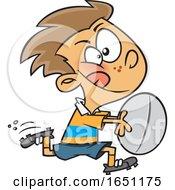 Cartoon Boy Playing Rugby