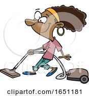 Poster, Art Print Of Cartoon Woman Vacuuming