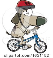 Cartoon Dog Riding A Bike by toonaday