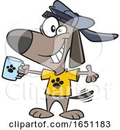 Cartoon Swag Dog Holding A Cup by toonaday