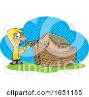 Cartoon Man Building An Ark In The Rain