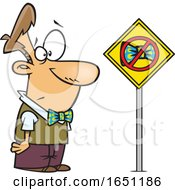 Cartoon Man Looking At A Bowtie Ban Sign
