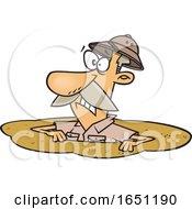 Cartoon Man Drowning In Quicksand