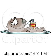 Cartoon Happy Otter Floating With A Drink
