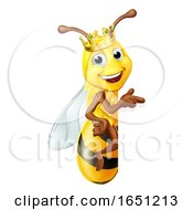 Queen Honey Bumble Bee Bumblebee In Crown Cartoon by AtStockIllustration