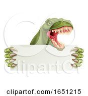Dinosaur T Rex Holding Sign Cartoon