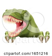 Dinosaur T Rex Peeking Over Sign Cartoon