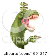 Dinosaur T Rex Peeking And Pointing Sign Cartoon