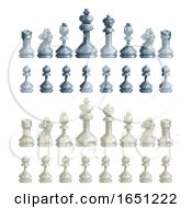 Chess Pieces Set 8 Bit Pixel Video Game Art Icons by AtStockIllustration