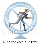 Business Man Hamster Wheel Stress Running Concept