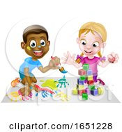 Boy And Girl Playing With Paints And Blocks
