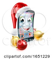 Christmas Mobile Cell Phone Mascot In Santa Hat