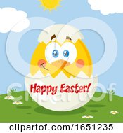 Poster, Art Print Of Hatching Chick In A Happy Easter Egg Shell