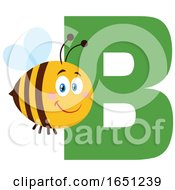 Cartoon Chubby Bee With The Letter B