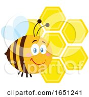 Cartoon Chubby Bee With Honeycombs by Hit Toon