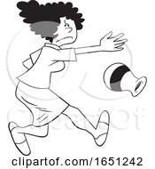 Cartoon Black And White Angry Woman Throwing A Vase