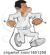 Cartoon Black Man Jumping Rope
