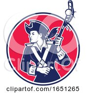 Female Lacrosse Player Patriot Mascot