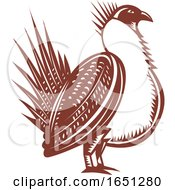 Retro Woodcut Male Greater Sage Grouse Bird