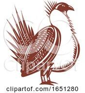 Retro Woodcut Male Greater Sage Grouse Bird
