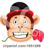 Poster, Art Print Of Monkey Is Holding Rose In His Mouth