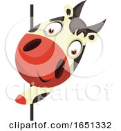 Poster, Art Print Of Cow Mascot Looking Around A Corner