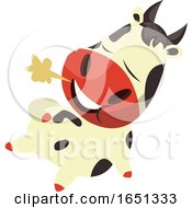 Poster, Art Print Of Cow Mascot Chilling
