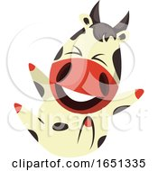 Poster, Art Print Of Cow Mascot Rolling On The Floor And Laughing