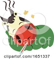 Poster, Art Print Of Cow Mascot Sick With A Fever