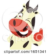 Poster, Art Print Of Cow Mascot Holding A Thumb Up