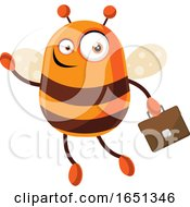 Chubby Bee Mascot Flying With A Briefcase by Morphart Creations