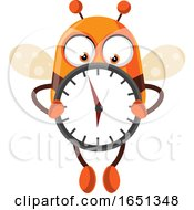 Chubby Bee Mascot Holding A Clock by Morphart Creations