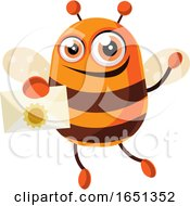 Chubby Bee Mascot Holding A Letter by Morphart Creations