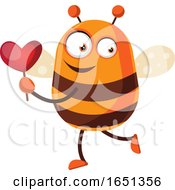 Poster, Art Print Of Chubby Bee Mascot Holding A Heart