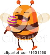 Chubby Bee Mascot With A Lolipop by Morphart Creations