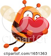 Poster, Art Print Of Chubby Bee Mascot Flying With A Heart