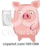Pink Pig Holding A Calculator by Morphart Creations