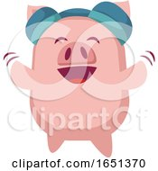 Pink Pig Dancing And Wearing Headphones by Morphart Creations