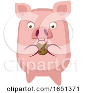 Pink Pig Eating A Cookie by Morphart Creations