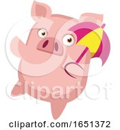 Pink Pig Holding An Umbrella by Morphart Creations