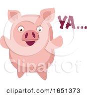Pink Pig Saying Ya by Morphart Creations