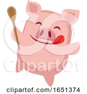 Pink Pig Holding A Spook And Licking His Lips
