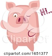 Pink Pig Saying Hi by Morphart Creations