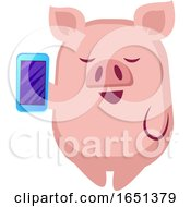 Pink Pig Holding A Smart Phone