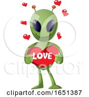Poster, Art Print Of Green Extraterrestrial Alien Holding A Love Heart