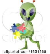 Green Extraterrestrial Alien Holding A Jigsaw Puzzle by Morphart Creations