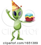 Green Extraterrestrial Alien Holding A Cake by Morphart Creations