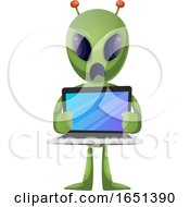 Green Extraterrestrial Alien Holding A Laptop by Morphart Creations