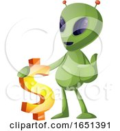 Green Extraterrestrial Alien With A Dollar Symbol by Morphart Creations